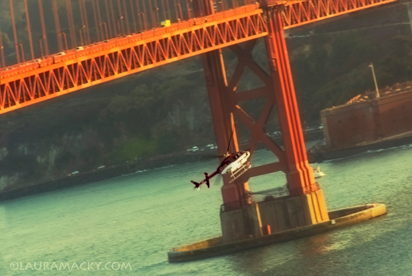 Helciopter Under the GG Bridge