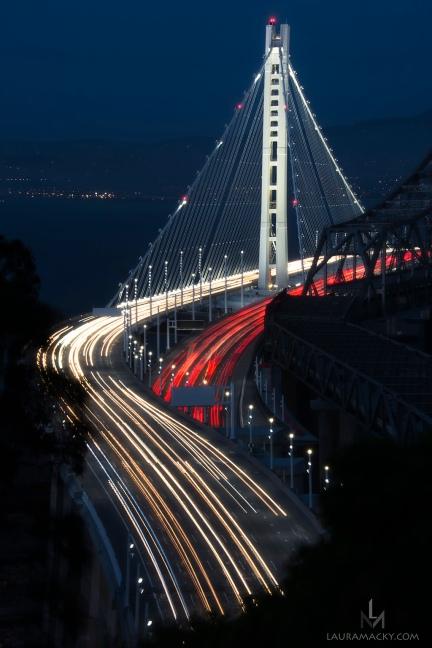 Eastern Portion of San Francisco Bay Bridge looking toward Berkeley, taken from Treasure Island.