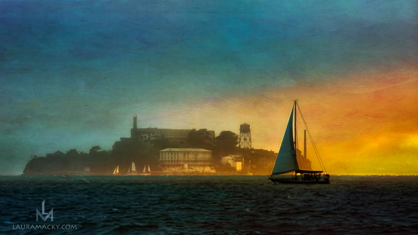 Sailboat passing in front of Alcatraz