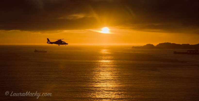 Helicopter over the SF Coast on a Search and Rescue Mission